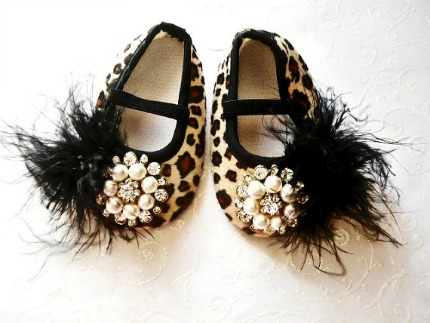Glamour baby girl shoes,Booties -Baby Crib Shoes - Leopard Baby shoes