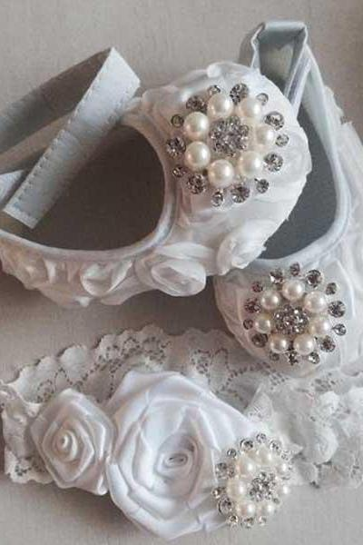 Baby Girl white Satin Rosette Crib Shoes ,Baby Shoes,Christening, Baptism, Wedding, Ready to ship
